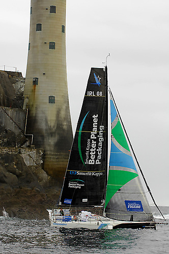 Tom Dolan racing around the Fastnet Rock in the 2020 Figaro Race