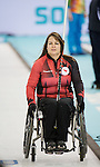 Sochi, RUSSIA - Mar 8 2014 -  Ina Forrest as Canada takes on Russia in Wheelchair Curling during the 2014 Paralympic Winter Games in Sochi, Russia.  (Photo: Matthew Murnaghan/Canadian Paralympic Committee)