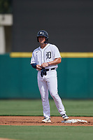 Detroit Tigers Spencer Torkelson (19) on second base after hitting a double during a Florida Instructional League game against the Pittsburgh Pirates on October 16, 2020 at Joker Marchant Stadium in Lakeland, Florida.  (Mike Janes/Four Seam Images)