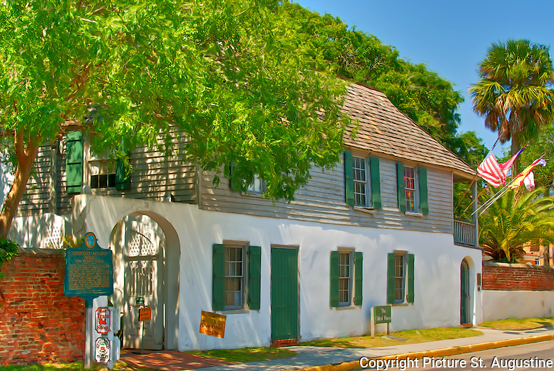 """""""The Oldest House""""  Gonzalez-Alvarez House -For more than three centuries this site has been occupied by St. Augustinians. Beginning about 1650, a succession of thatched wooden structures were their homes. This coquina stone house was built soon after the English burned St. Augustine in 1702 and originally was a one-story rectangle with two rooms. As times changed during the Spanish, British and American occupations a wooden second story, an off-street porch, and other features were added. Preserved by the St. Augustine Historical Society since 1918, the house became a registered national landmark in 1970. Information from Historical Marker"""