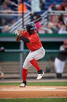 Lowell Spinners Gilberto Jimenez (32) at bat during a NY-Penn League Semifinal Playoff game against the Batavia Muckdogs on September 4, 2019 at Dwyer Stadium in Batavia, New York.  Batavia defeated Lowell 4-1.  (Mike Janes/Four Seam Images)