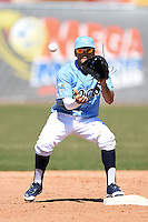 Wilmington Blue Rocks second baseman Jack Lopez (11) takes a throw during a game against the Myrtle Beach Pelicans on April 27, 2014 at Frawley Stadium in Wilmington, Delaware.  Myrtle Beach defeated Wilmington 5-2.  (Mike Janes/Four Seam Images)