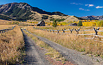 Park County, MT: Gravel two track leads to wood barn and ranch under the Gallatin Range in fall.