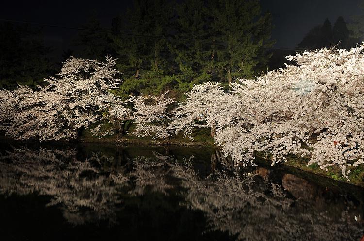 """The """"Hirosaki Sakura-Matsuri"""" cherry blossom festival is held at Hirosaki Park from late April to early May every year when the cherry blossoms are in full bloom. The park bustles with people enjoying rental boats, stalls and the illumination of cherry blossoms at night. The """"Hirosaki Sakura-Matsuri"""" cherry blossom festival is held at Hirosaki Park from late April to early May every year when the cherry blossoms are in full bloom. The park bustles with people enjoying rental boats, stalls and the illumination of cherry blossoms at night.<br /> <br /> Le festival de fleurs de cerisier «Hirosaki Sakura-Matsuri» a lieu au parc Hirosaki de la fin avril au début mai, chaque année, lorsque les fleurs de cerisier sont en pleine floraison. Le parc déborde de gens profitant des bateaux de location, des stands et de la lumière des cerisiers en fleurs la nuit."""