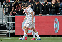 LOS ANGELES, CA - MARCH 01: Lewis Morgan #7 and Rodolfo Pizarro #10 of Inter Miami CF share a few words with one another during a game between Inter Miami CF and Los Angeles FC at Banc of California Stadium on March 01, 2020 in Los Angeles, California.