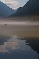 Boating in the Mist on Diablo Lake, North Cascades National Park, Washington, US