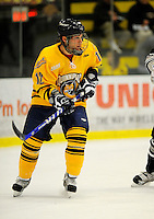 29 December 2007: Quinnipiac University Bobcats' forward Greg Holt, a Sophomore from Mt. Sinai, NY, in action against the Western Michigan University Broncos at Gutterson Fieldhouse in Burlington, Vermont. The Bobcats defeated the Broncos 2-1 in the first game of the Sheraton/TD Banknorth Catamount Cup Tournament...Mandatory Photo Credit: Ed Wolfstein Photo