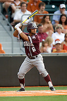 Texas A&M Aggies second baseman Andrew Collazo #6 at bat against the Texas Longhorns in NCAA Big XII Conference baseball on May 21, 2011 at Disch Falk Field in Austin, Texas. (Photo by Andrew Woolley / Four Seam Images)