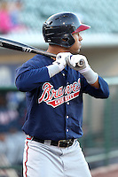 Gwinnett Braves infielder Wilkin Ramirez #33 waits on deck during a game against the Rochester Red Wings at Frontier Field on May 5, 2011 in Rochester, New York.  Rochester defeated Gwinnett by the score of 3-2.  Photo By Mike Janes/Four Seam Images