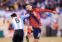 Javier Zanetti, Clint Dempsey. The USMNT tied Argentina, 1-1, at the New Meadowlands Stadium in East Rutherford, NJ.