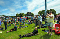 Fans on the embankment applaud Kyle Jamieson's 10-wicket bag during day four of the second International Test Cricket match between the New Zealand Black Caps and Pakistan at Hagley Oval in Christchurch, New Zealand on Wednesday, 6 January 2021. Photo: Dave Lintott / lintottphoto.co.nz