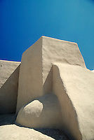 "Historic Church """"San Francisco de Asis"""". Featuring magnificent adobe architecture. Buttress. Taos New Mexico USA."