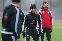 Thursday  21 January 2016<br /> Pictured: Neil Taylor of Swansea in action during training <br /> Re: Swansea City Training Session at the Fairwood training ground