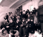 Sepia toned crowd at the Snow King Castle in Yellowknife