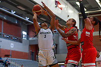 Pallas Kunaiyi-Akpanah (3) of Nigeria and J. Gwathney (24) of Puerto Rico pictured during a basketball game between Nigeria and Puerto Rico on Friday 28 th of May 2021 in Kortrijk , Belgium . PHOTO SPORTPIX.BE | SPP | STIJN AUDOOREN