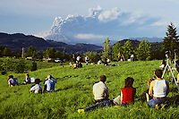 May 18, 1980 eruption of Mount Saint Helens in Washington State.  People watching eruption in rural Clark County, Washington.