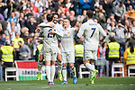 Isco Alarcon of Real Madrid celebrates with teammates Alvaro Morata, Cristiano Ronaldo, and Lucas Vazquez during the match Real Madrid vs RCD Espanyol, a La Liga match at the Santiago Bernabeu Stadium on 18 February 2017 in Madrid, Spain. Photo by Diego Gonzalez Souto / Power Sport Images