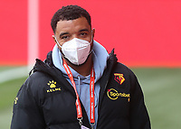 Watford's Troy Deeney walks around the pitch wearing a mask during Brentford vs Watford, Sky Bet EFL Championship Football at the Brentford Community Stadium on 1st May 2021