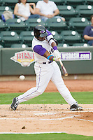 Courtney Hawkins (10) of the Winston-Salem Dash swings over a pitch during the Carolina League game against the Frederick Keys at BB&T Ballpark on July 21, 2013 in Winston-Salem, North Carolina.  The Dash defeated the Keys 3-2.  (Brian Westerholt/Four Seam Images)