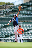 Tampa Bay Rays first baseman Nathaniel Lowe (37) stretches for a throw during an Instructional League game against the Baltimore Orioles on September 19, 2016 at Ed Smith Stadium in Sarasota, Florida.  (Mike Janes/Four Seam Images)