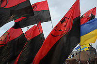 Red and Black - blood and soil - traditional revolutionary flag of Ukrainian nationalists wide spread in western part of Ukraine and became very popular during protests against current Ukrainian government and president Yanukovich.