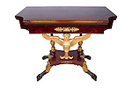 XX.1.1H<br /> Lannuier Card Table<br /> By Charles-Honore Lannuier<br /> New York City<br /> Ca. 1815<br /> Classical Rosewood, Giltwood, and Brass-Mounted Card Table<br /> 1 of a pair<br /> Bosley parlor set<br /> Museum Collection<br /> Furniture
