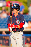 Bryce Harper #34 of the Hagerstown Suns checks his bat between pitches against the Rome Braves at State Mutual Stadium on April 30, 2011 in Rome, Georgia.   Photo by Brian Westerholt / Four Seam Images