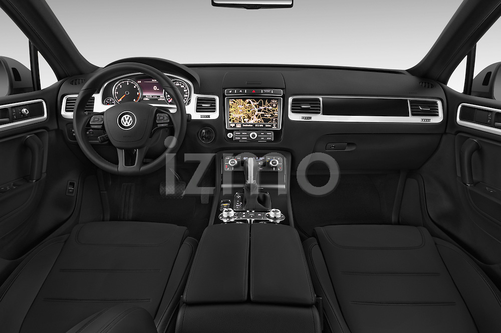 Stock photo of straight dashboard view of a 2015 Volkswagen Touareg Bluemotion 5 Door SUV Dashboard
