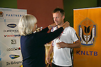 August 24, 2014, Netherlands, Amstelveen, De Kegel, National Veterans Championships, Prizegiving, Final mens 35 + : winner Dennis Bank (NED) <br /> Photo: Tennisimages/Henk Koster