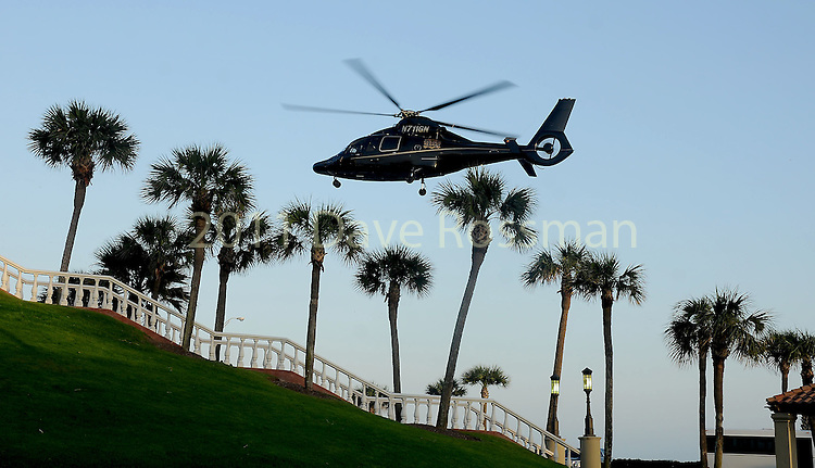 """Tilman Fertitta's helicopter carrying Jason Derulo lands before at the San Luis Salute """"Space Pirates"""" VIP reception Friday February 24,2017. (Dave Rossman Photo)"""