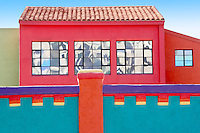 Colorful building with mirror windows in La Placita Village. Tucson. Arizona