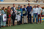 "DEL MAR, CA  AUGUST 17:  DEL MAR, CA  AUGUST 17:  #6 Higher Power, ridden by Flavien Prat, and the connections in the winners circle after winning  the TVG Pacific Classic (Grade 1) ""Win and You're In Breeders' Cup Classic Division"" on August 17, 2019 at Del Mar Thoroughbred Club in Del Mar, CA..(Photo by Casey Phillips/Eclipse Sportswire/CSM)"