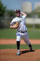 Edgewood Eagles pitcher Adam Eck (26) during the second game of a doubleheader against the UW-Stout Blue Devils on March 16, 2015 at Lee County Player Development Complex in Fort Myers, Florida.  UW-Stout defeated Edgewood 8-2.  (Mike Janes/Four Seam Images)