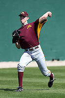 Pitcher Tom Windle #38 of the Minnesota Golden Gophers during the Big East-Big Ten Challenge vs. the St. John's Red Storm at Jack Russell Memorial Stadium in Clearwater, Florida;  February 18, 2011.  St. John's defeated Minnesota 14-1.  Photo By Mike Janes/Four Seam Images