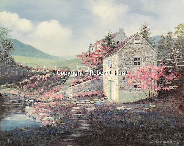 """Spring house made of gray field stone with red bud blooming on a scenic farm near Valley Forge, PA. Available as a 12.5"""" x 16"""" fine art limited edition lithograph."""