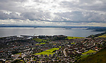Early stages of the game seen from The Binn, a 600 foot high hill overlooking the town. The Forth bridge is on the right hand side. Burntisland Shipyard v Colville Park, William Hill Scottish Cup First Preliminary Round, at The Recreation Ground, Burntisland, 12th August 2017.
