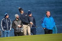1st October 2021; Kingsbarns Golf Links, Fife, Scotland; European Tour, Alfred Dunhill Links Championship, Second round; Thomas Detry of Belgium chips to the fourth green at Kingsbarns Golf Links