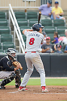 Dylan Cozens (8) of the Lakewood BlueClaws at bat against the Kannapolis Intimidators at CMC-NorthEast Stadium on July 20, 2014 in Kannapolis, North Carolina.  The Intimidators defeated the BlueClaws 7-6. (Brian Westerholt/Four Seam Images)