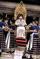 Pope Beneditct XVI on the occasion of Pontiff's 85th birthday celebrations in the Clementine hall at the Vatican on April 16, 2012. Pope Benedict XVI celebrated his 85th birthday Monday with visitors from his native state of Bavaria in Germany and is now the oldest pope since Leo XIII, who died in 1903 aged 93.