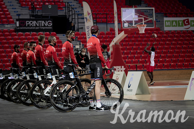 team presentation inside the empty Spirou Basketbal Dome in Charleroi<br /> <br /> 85th La Flèche Wallonne 2021 (1.UWT)<br /> 1 day race from Charleroi to the Mur de Huy (BEL): 194km<br /> <br /> ©kramon