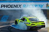#19: Brandon Jones, Joe Gibbs Racing, Toyota Supra Menards/Turtle Wax celebrates his win with a burnout