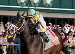 """LEXINGTON, KY - OCTOBER 08: #11 Classic Empire and jockey Julien Leparoux win the 103rd running of The Claiborne Breeders' Futurity (Grade 1) $500,000 Breeders' Cup """"Win and You're In Juvenile Division"""" for owner John Oxley and trainer Mark Casse at Keeneland Race Course in Lexington, KY.  October 8, 2016, Lexington, Kentucky. (Photo by Candice Chavez/Eclipse Sportswire/Getty Images)"""