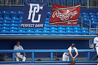 Sean Clark (20) of Asheville High School in Asheville, NC hangs over the dugout railing during the Atlantic Coast Prospect Showcase hosted by Perfect Game at Truist Point on August 22, 2020 in High Point, NC. (Brian Westerholt/Four Seam Images)