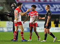 20th November 2020; Totally Wicked Stadium, Saint Helens, Merseyside, England; BetFred Super League Playoff Rugby, Saint Helens Saints v Catalan Dragons; Kevin Naiqama of St Helens is congratulates by team mate Louie McCarthy-Scarsbrook at the end of the match