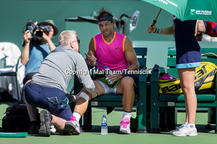 March 15, 2019: Rafael Nadal (ESP) receives a medical timeout in a match where he defeated Karen Khachanov (RUS) 7-6, 7-6 at the BNP Paribas Open at the Indian Wells Tennis Garden in Indian Wells, California. ©Mal Taam/TennisClix/CSM