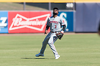 Scottsdale Scorpions shortstop Alfredo Rodriguez (3), of the Cincinnati Reds organization, tracks a pop up during an Arizona Fall League game against the Peoria Javelinas at Peoria Sports Complex on October 18, 2018 in Peoria, Arizona. Scottsdale defeated Peoria 8-0. (Zachary Lucy/Four Seam Images)