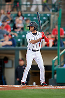 Rochester Red Wings left fielder Zack Granite (1) at bat during a game against the Pawtucket Red Sox on May 19, 2018 at Frontier Field in Rochester, New York.  Rochester defeated Pawtucket 2-1.  (Mike Janes/Four Seam Images)