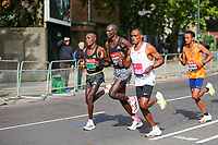 3rd October 2021; London, England: The Virgin Money 2021 London Marathon: Leading group of elite men's runner on Butcher Row, Limehouse between mile 21 and 22 starting towards central London and the finish.