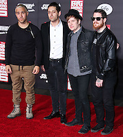 HOLLYWOOD, LOS ANGELES, CA, USA - NOVEMBER 04: Pete Wentz, Joe Trohman, Patrick Stump, Andy Hurley, Fall Out Boy arrive at the Los Angeles Premiere Of Disney's 'Big Hero 6' held at the El Capitan Theatre on November 4, 2014 in Hollywood, Los Angeles, California, United States. (Photo by Xavier Collin/Celebrity Monitor)