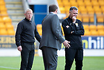 St Johnstone v Livingston….04.05.19      McDiarmid Park        SPFL<br />Gary Holt and Tommy Wright exchabge words<br />Picture by Graeme Hart. <br />Copyright Perthshire Picture Agency<br />Tel: 01738 623350  Mobile: 07990 594431